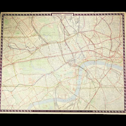 Vintage London Transport Map 1953