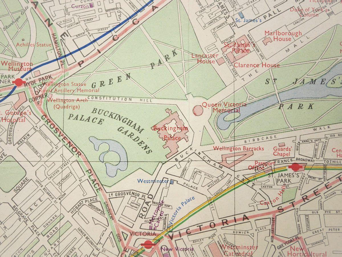 London Border Map.London Transport Quad Royal Map C 1953