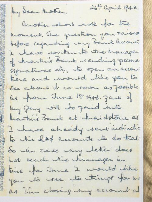 WW2 RAF Omega Watch accompanying letter 1943