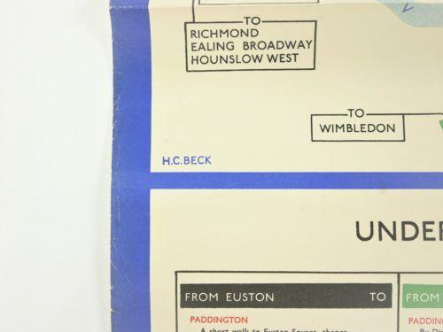 Original 1946 London Underground Map by H C Beck
