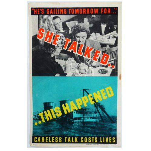 Careless Talk Costs Lives Original WW2 Poster