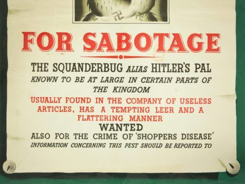 Wanted For Sabotage The Squanderbug Poster