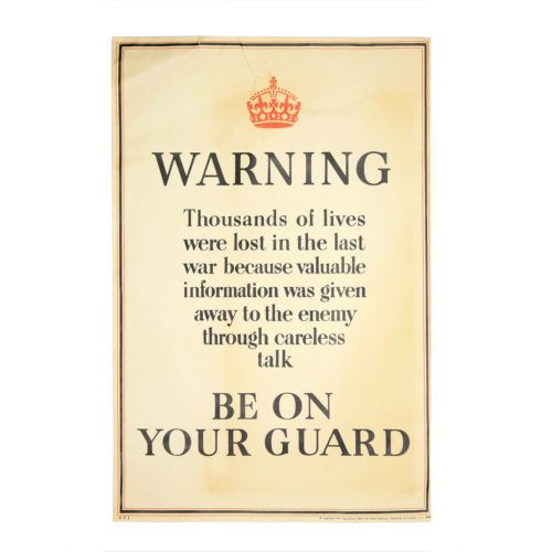 Warning Be On Your Guard WW2 Poster